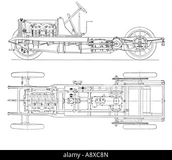 DIAGRAM OF FOUR CYLINDER PETROL ENGINE CAR CHASSIS WITH