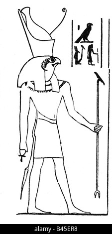 Ancient Egyptian god Horus. Relief on the second pylon of