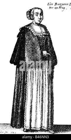 fashion, 17th century, Bohemia, womans costume, citizen of