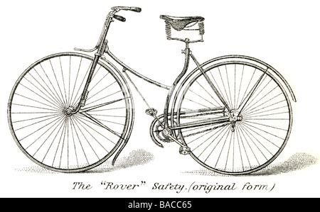 Old bicycle. Engraving, 19th century. Later colouration