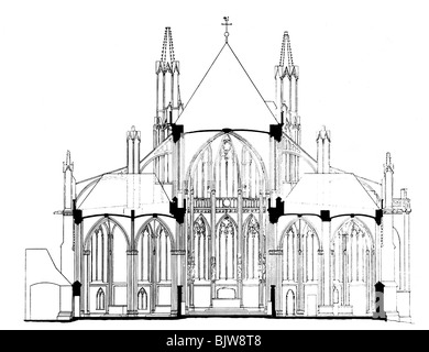 architecture, ground plan, cross section of a Romanesque