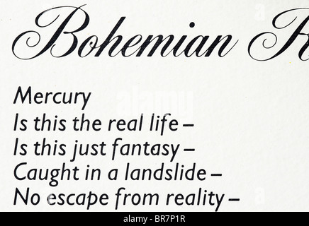 Queen Bohemian Rhapsody lyrics printed on the A Night at