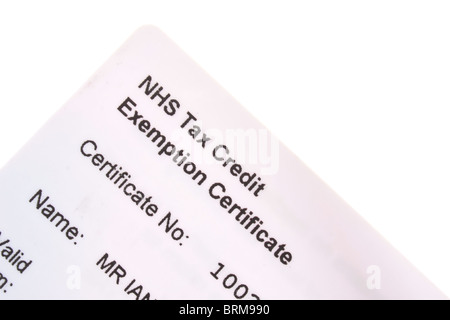 NHS Tax Credit Exemption Certificate / Card (on top of