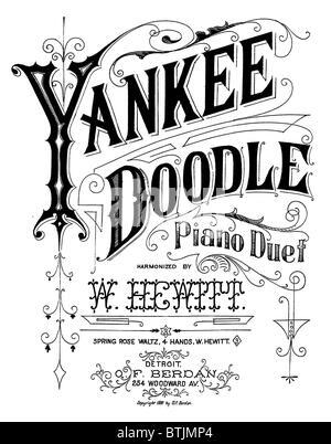 Yankee Doodle, patriotic American song, lyric sheet, circa