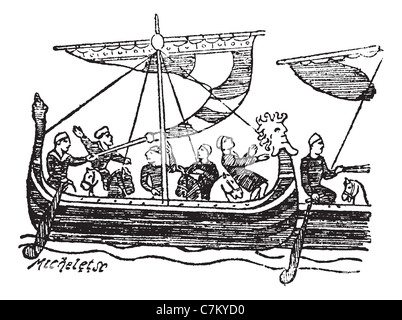Black and White Illustration of a Norman Ship by Charles