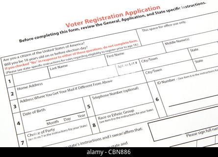 U.S. Voter Registration Application Stock Photo, Royalty