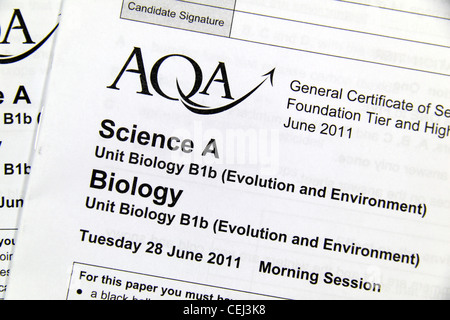 The GCSE AQA Science Biology Higher Tier paper completed