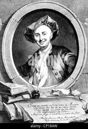 Julien Offray De La Mettrie : julien, offray, mettrie, JULIEN, OFFRAY, METTRIE, (1709-1751), French, Physician, Stock, Photo, Alamy