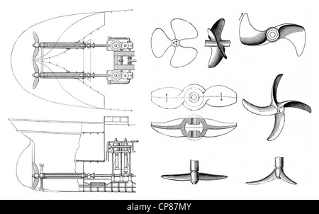Oscillating twin boat steam engine for driving propellers