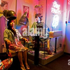 Chair Hair Dryer Chairs And Ottoman 1950s Woman Under With Towel On Shoulders Net Stock Photo: 12667546 - Alamy