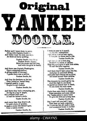 Yankee Doodle, patriotic American song, piano duet