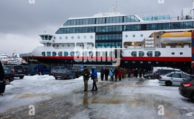 Hurtigruten Ms Midnatsol Berthed In Honningsvag Harbour
