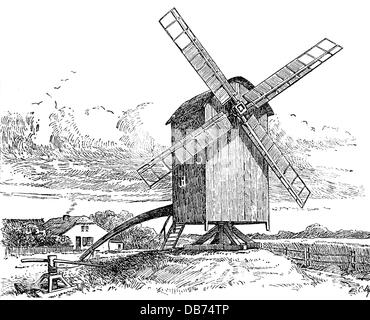 Engraving of a Capstan, a broad revolving cylinder with a
