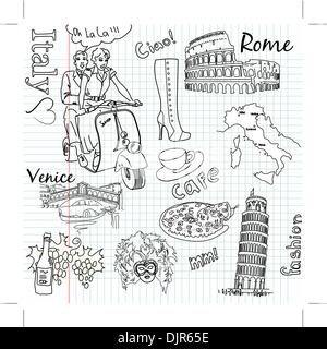 Sightseeing in Italy doodles Stock Vector Art