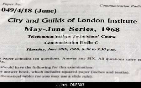 old exam papers for engineering qualifications UK (1960s