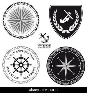 cruise ship captain vector boat sailor icon set nautical