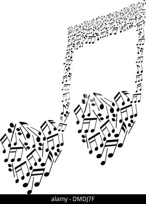 musical notes icon, love music, calligraphy text hand