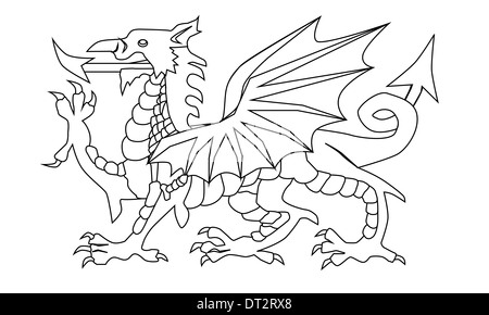 Saint David of Wales Black and White Illustration Stock