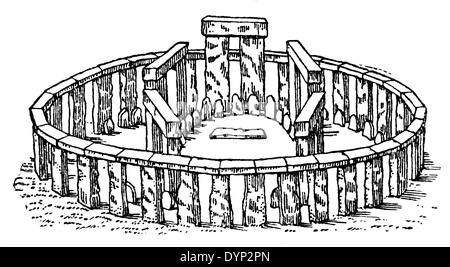 Vintage engraving of Stonehenge prehistoric monument in