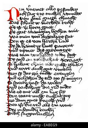 Historic print, manuscript, Middle High German epic poem