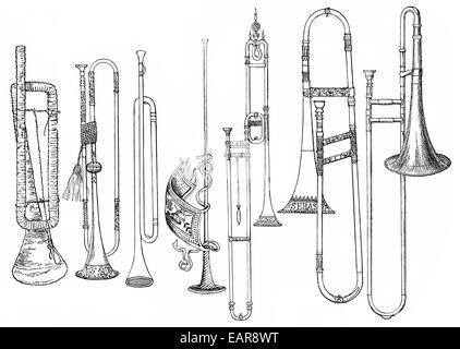 Various Forms Of Old Brass Instruments, Zinc, Horn