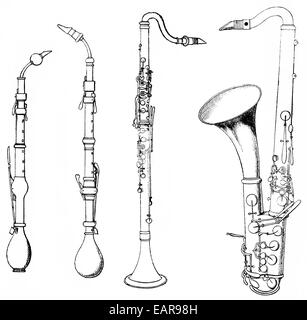 various forms of ancient woodwind instruments, shawm, oboe