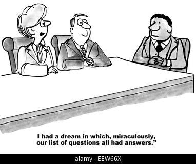 Cartoon of business leader saying to team, today we are