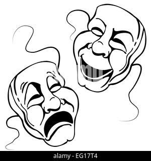 Greek Theatre Mask Set Vector Illustration Cartoon Stock