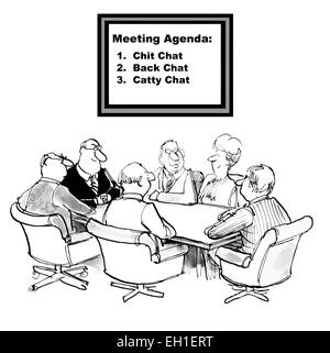 Cartoon of business team meeting, businesswoman says the