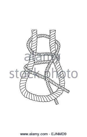 Rope and knots sheet bend Stock Photo, Royalty Free Image