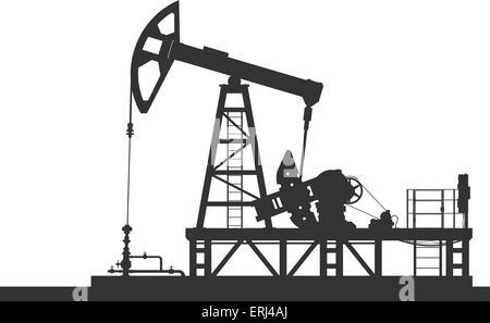 Oil rig. Detailed vector illustration Stock Vector Art