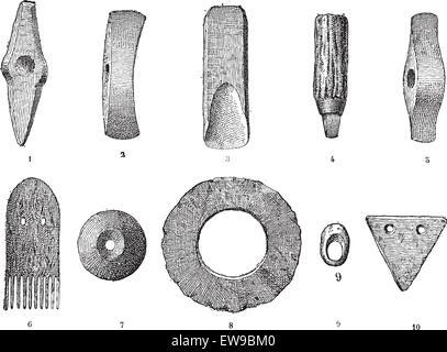 Stone age. Vintage engraved illustration. Published in