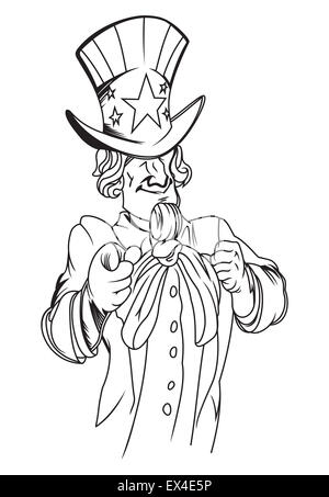 Vector Cartoon Illustration of Uncle Sam holding a Vote