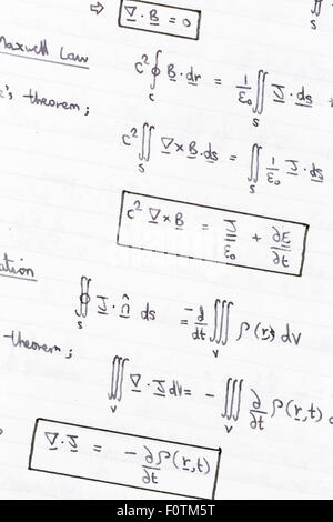 Complex maths and physics equations and formulas Stock