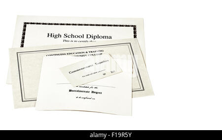 Education documents including high school diploma, honor