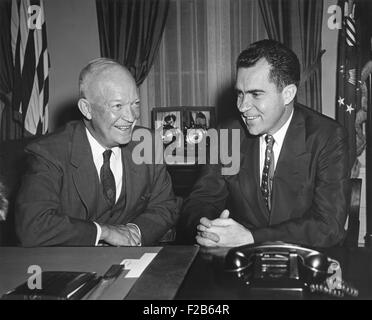 President Eisenhower meeting with Richard Nixon and Milton