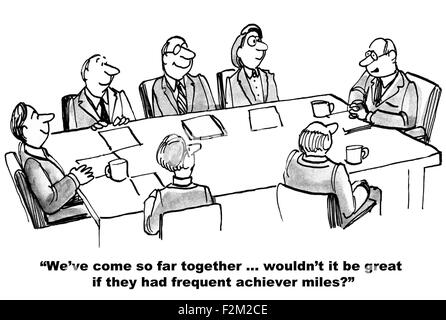 Business cartoon of meeting, leader says, 'of course we