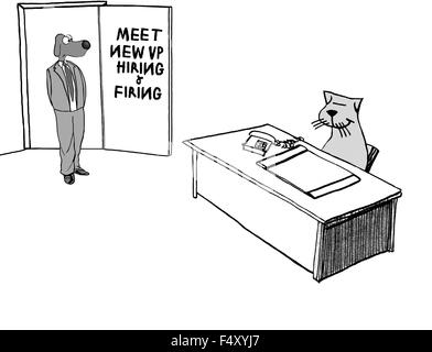 Business cartoon of business dog and cat, they are the