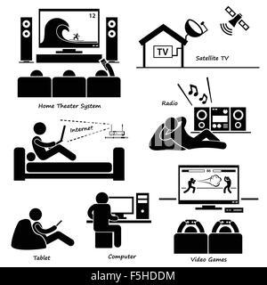 Home House Basic Electronic Appliances Stick Figure