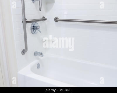 Handicapped Disabled Access Bathroom Bathtub Shower With Grab Bars Stock Photo 91221380 Alamy
