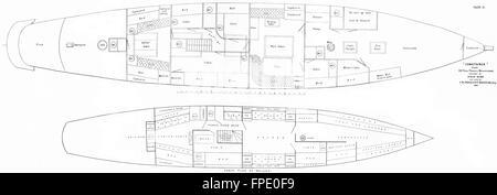 BOATS: Cabin Plan of 200-tons Yacht: Schooner, antique