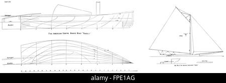 BOAT PLAN: Centre-board Yacht: Sloop'Pollywog', antique