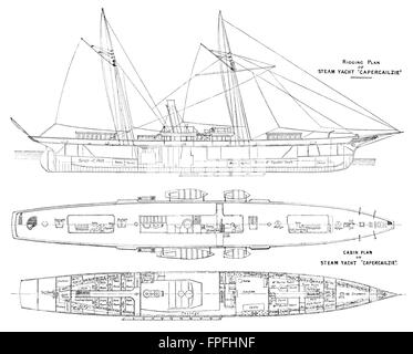 YACHTS: Steam Yacht Cabin Plans 'Oriental': of, antique