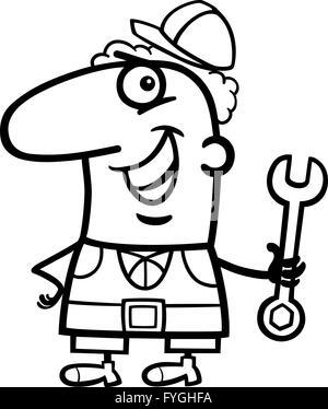 A handyman mechanic or plumber cartoon character holding a