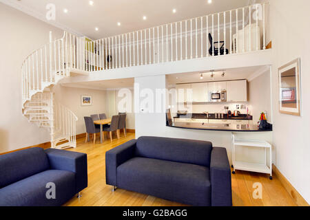 open plan staircase in living room images of colors for rooms with stock photo 153951830 alamy dining and spiral leading up to second
