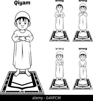 Islam Muslim Saudi Arabia Boy Praying Prayer mat Stock