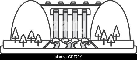 Hydroelectric power station cartoon icon Stock Vector