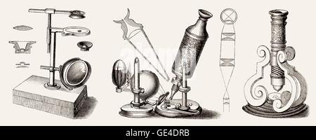Robert Hooke Microscope, 17th Century Stock Photo