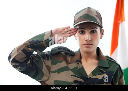 Pakistan Army Girl Wallpapers Soldier Saluting With Indian Flag In Background Stock