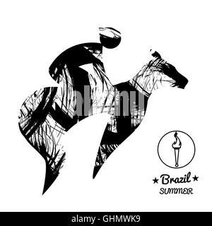 Jockey Horse Racing Cartoon Stock Photo, Royalty Free
